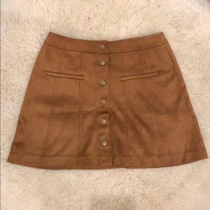 Zara Suede Camel Button Up Skirt